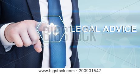 Young Lawyer Touching Legal Advice On Futuristic Interface