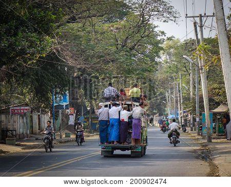 Local Bus On Road In Mandalay, Myanmar