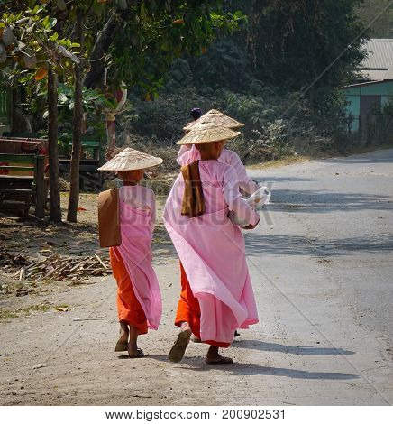 Buddhist Nuns Walking For Morning Alms