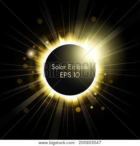 Stylized illustration of a total solar eclipse. Vector