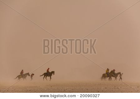 Riders Are Engulfed By A Saharan Sandstorm, Egypt