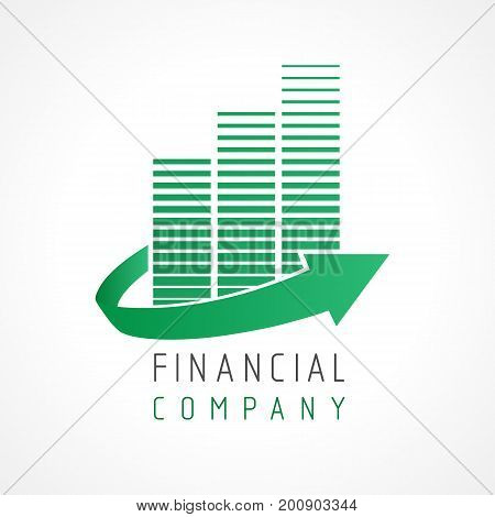 Financial company growth up logo. Financial business progress arrow up icon vector elements template