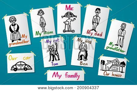 Pictures of family members on the paper attached to the wall with paper tape. Creativity and drawing. Wallpaper and background. Vector illustration.