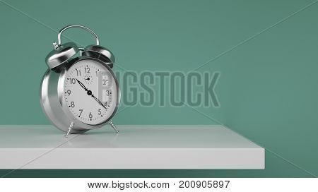 Vintage or retro alarm clock on shelf in room with empty wall (3D Rendering)