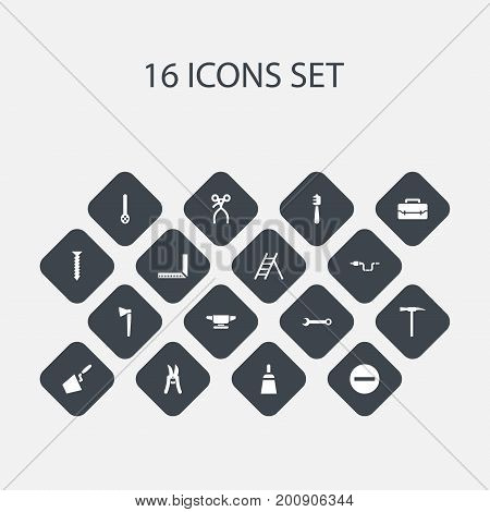 Set Of 16 Editable Equipment Icons. Includes Symbols Such As Spanner, Trowel, Skimmer And More