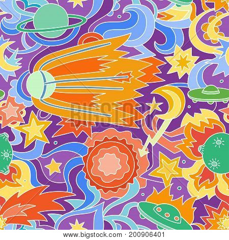 Crazy cartoon seamless pattern with satelite, planets, stars. Colorful vector background on the space theme.