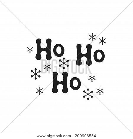 Ho ho ho. Christmas calligraphy phrase. Handwritten brush seasons lettering. Xmas phrase. Hand drawn design element. Happy holidays. Greeting card text. Christmas calligraphy