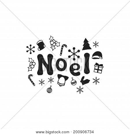 Noel. Christmas calligraphy phrase. Handwritten brush seasons lettering. Xmas phrase. Hand drawn design element. Happy holidays. Greeting card text. Christmas calligraphy
