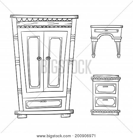 Antique furniture set - closet, dresser, nightstand isolated on a white background. Vector drawing lines.