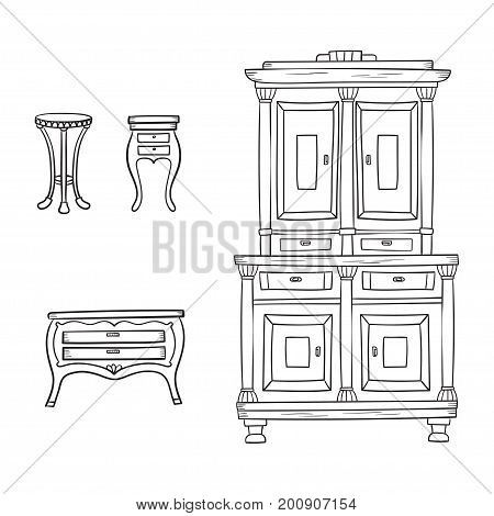 Antique furniture set: closet, nightstand and bureau isolated on a white background. Vector drawing lines.