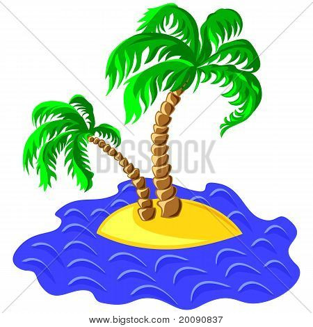 Vector Two Palm Trees On An Island In The Ocean