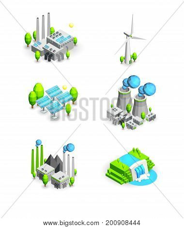 vector illustration icons in the types of energy generation. set of icons of renewable alternative energy. Inergen sun, wind, water, resources. set a windmill, solar battery, coal , nuclear, Hydropower