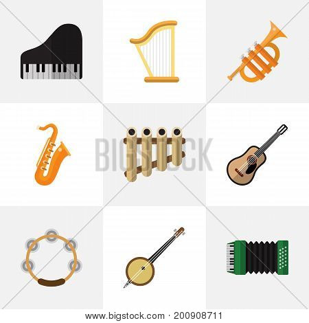 Set Of 9 Editable Sound Flat Icons. Includes Symbols Such As Zither, Accordion, Tuba And More