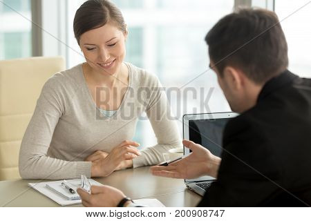 Company executive coaching young personal secretary assistant, team leader or senior manager explaining work duties to junior, businessman telling contractual terms or deal details to female partner poster