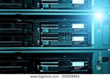 detail of data server with blade hard drives