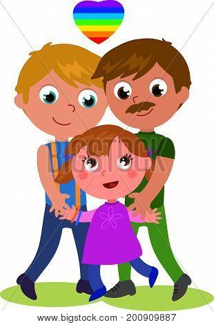 Cartoon male homosexual happy family cartoon vector illustration