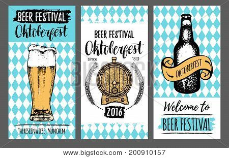 Oktoberfest flyers. Beer festival cards with hand sketched glass, barrel, bottle. Vector vintage brewery posters or banners. Wiesn symbols set.
