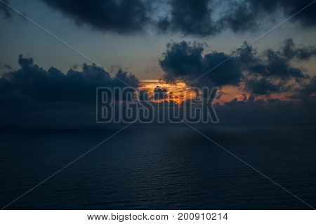 Sea sunset with clouds