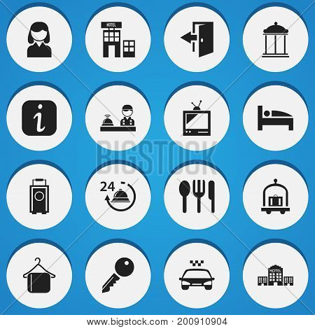 Set Of 16 Editable Hotel Icons. Includes Symbols Such As Tv, Hotel, Unblock Access And More