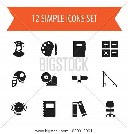 Set Of 12 Editable Science Icons. Includes Symbols Such As Ring, Textbook, Award And More