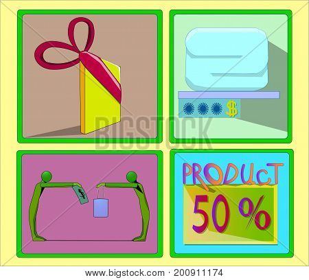 Image of several objects in a green frame. All objects are a gift wrapping with a ribbon, a thing and a price tag, two people, the word