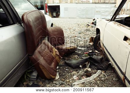 Crushed cars on salvage yard