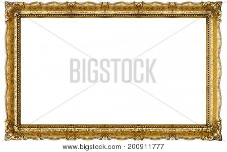 Very Big Old Gold picture frame, isolated on white
