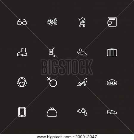 Set Of 16 Editable Trade Outline Icons. Includes Symbols Such As Shoes, Hand Cart, Portfolio