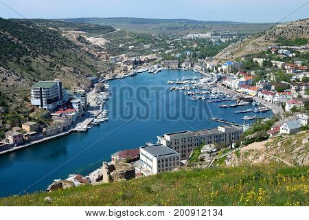 Beautiful hidden sea bay of Balaclava town in Crimea
