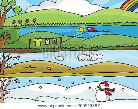 Four Seasons Landscape Vector : Each season many emotions.