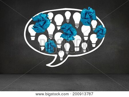 Digital composite of light bulbs in chat bubble with crumpled paper balls in front of blackboard