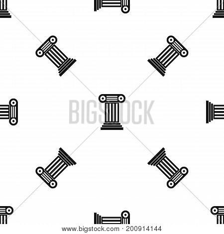 Roman column pattern repeat seamless in black color for any design. Vector geometric illustration