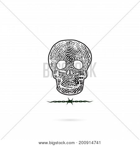 Human skull silhouette with fingerprint and barbed wire icon. Human skull and barbed wire tattoo logo design vector template.