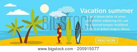 Vacation summer banner horizontal concept. Flat illustration of vacation summer banner horizontal vector concept for web