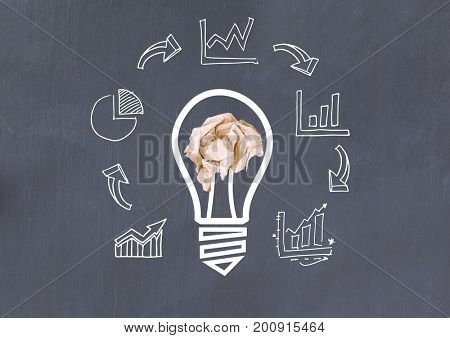 Digital composite of light bulb with crumpled paper ball and business graphics  in front of blackboard
