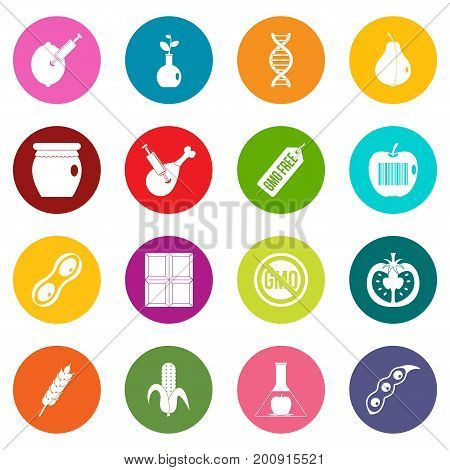 GMO icons many colors set isolated on white for digital marketing