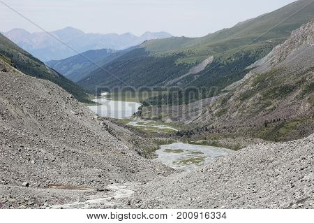 Ak-kem River Valley. Beluha Mountain. Altai Landscape.