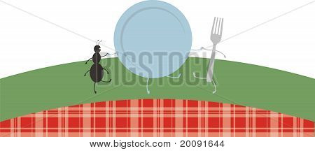 Dancing picnic ant, plate, and fork