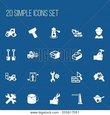 Set Of 20 Editable Building Icons. Includes Symbols Such As Pail, Facing, Elevation And More