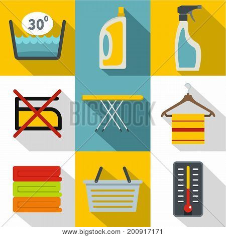 Washing dirty clothes icons set. Flat set of 9 washing dirty clothes vector icons for web with long shadow