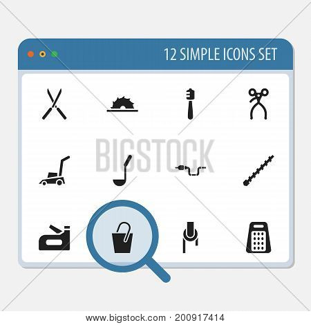 Set Of 12 Editable Equipment Icons. Includes Symbols Such As Grass Cutting Machine, Garden Scissors, Sheave And More