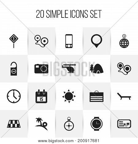 Set Of 20 Editable Travel Icons. Includes Symbols Such As Trading Purse, Tabernacle, Do Not Disturb And More