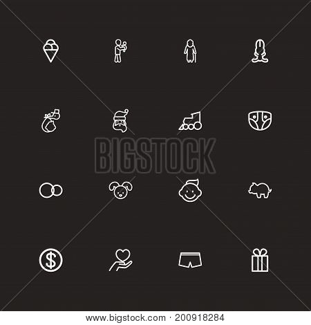 Set Of 16 Editable Family Outline Icons. Includes Symbols Such As Perambulator, Brings, Money Box And More