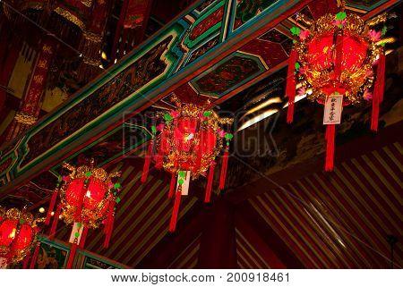 Interior Tua Pek Kong Chinese Temple. Bintulu City, Borneo, Sarawak, Malaysia