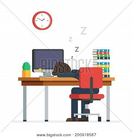 Businessman working on the computer, sleeping on the job. Tired man sleeping in the office sitting on a red chair behind the office Desk. Vector illustration in trendy flat design characters, isolated on white background