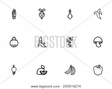 Set Of 12 Editable Cookware Outline Icons. Includes Symbols Such As Banana, Asparagus, Lemon And More