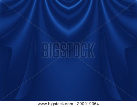 Deep blue modern abstract fractal background illustration with stylized draping or curtains. Dark smooth elegant creative template for fashion themed projects layouts designs banners skins flyers