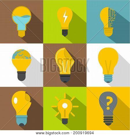 Idea ligh bulb icons set. Flat set of 9 idea ligh bulb vector icons for web with long shadow
