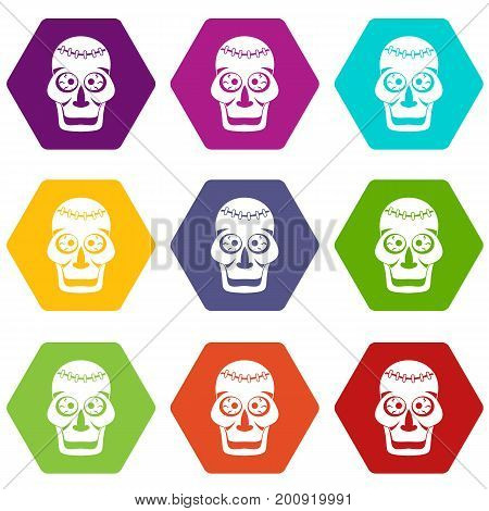 Skull icon set many color hexahedron isolated on white vector illustration