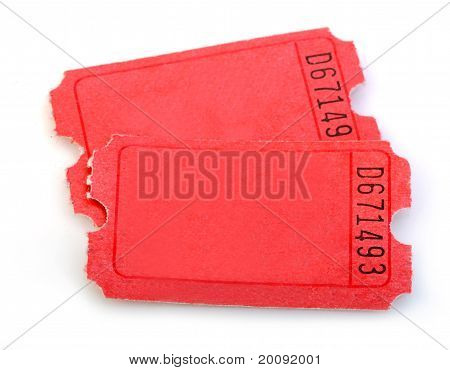 Macro Of Red Tickets Isolated On White Background